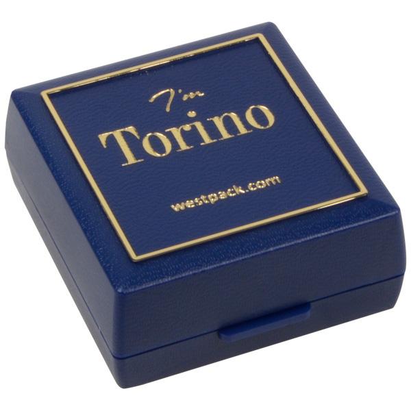 Grootverpakking -  Torino doosje oorsieraden Blauw plastic met gouden bies / Zwart foam 48 x 45 x 22
