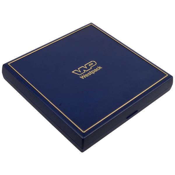 Achat en gros: Torino écrin pour collier Plastique bleu, liseré doré / Mousse noire 160 x 160 x 23