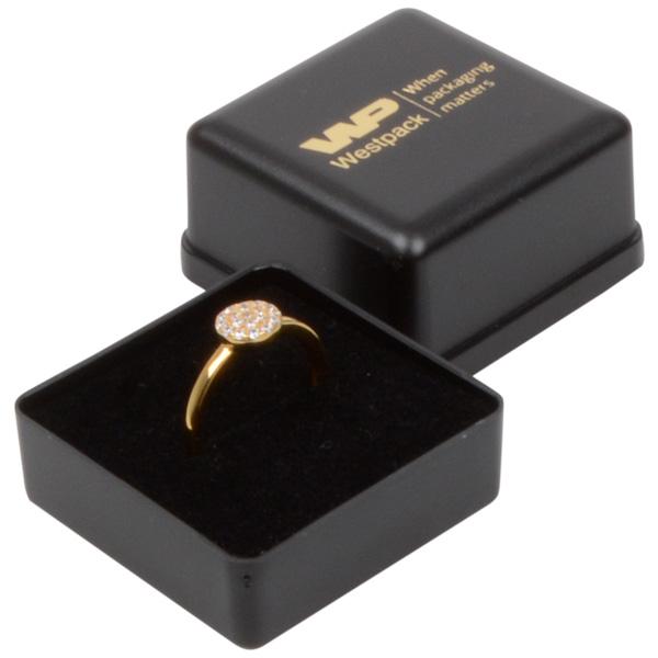 Grootverpakking -  Seville doosje voor ring Zwart plastic / Zwart foam 40 x 40 x 32