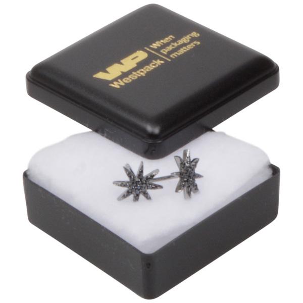 Grootverpakking -  Seville doosje oorsieraden Zwart plastic / Witte watten 42 x 42 x 18