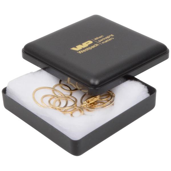 Grootverpakking -  Seville doosje hanger/armband Zwart plastic / Witte watten 80 x 80 x 24