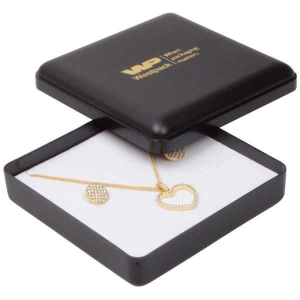 Grootverpakking -  Seville doosje hanger/armband Zwart plastic / Wit foam 80 x 80 x 24