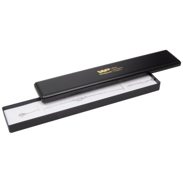 Grootverpakking -  Seville doosje armband, lang Zwart plastic / Wit foam 216 x 36 x 21