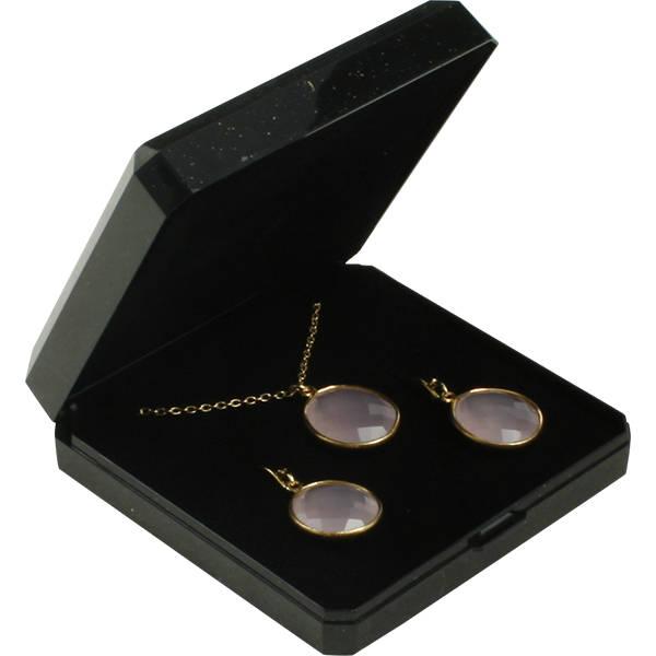 Grootverpakking -  Verona doosje hanger/armband Zwart plastic glitter en gouden bies/ Zwart foam 85 x 85 x 26
