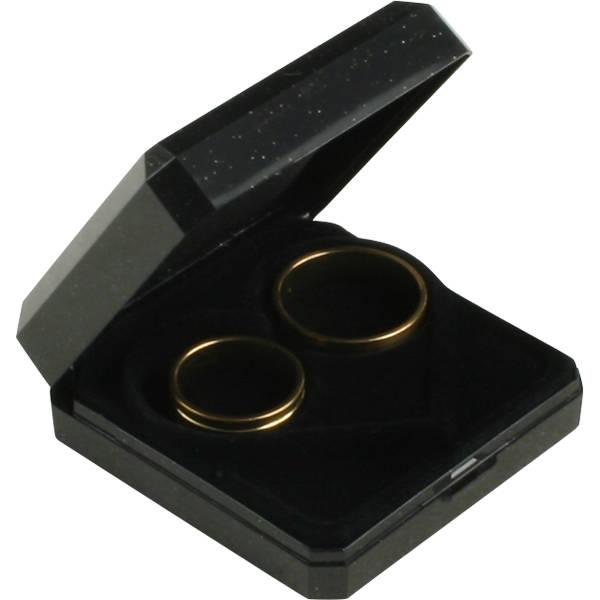 Grootverpakking -  Verona doosje voor trouwringen Zwart plastic glitter en gouden bies/ Zwart foam 60 x 60 x 23