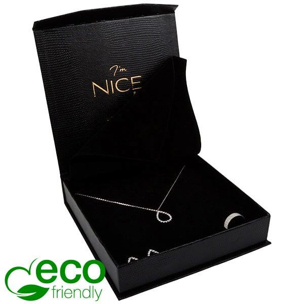 Nice Eco - écrin pour collier / parure Noir avec texture peau de serpent/ Mousse noire 165 x 165 x 35