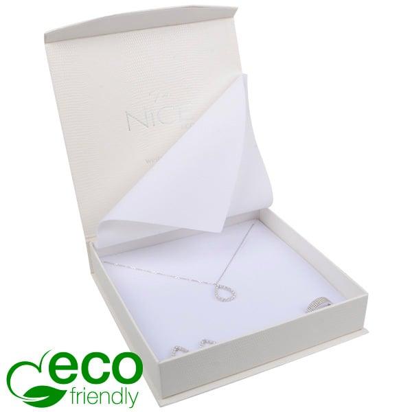 Nice ECO sieradendoosje voor collier / choker Crèmekleurig kunstleer met slangenprint / Wit foam 165 x 165 x 35