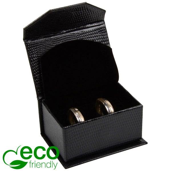 Nice ECO sieradendoosje trouwringen/manchetknopen Zwart kunstleer met slangenprint/ Zwart foam 67 x 45 x 35