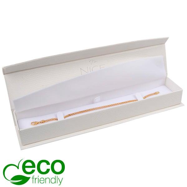 Nice ECO sieradendoosje voor armband Crèmekleurig kunstleer met slangenprint / Wit foam 227 x 50 x 26
