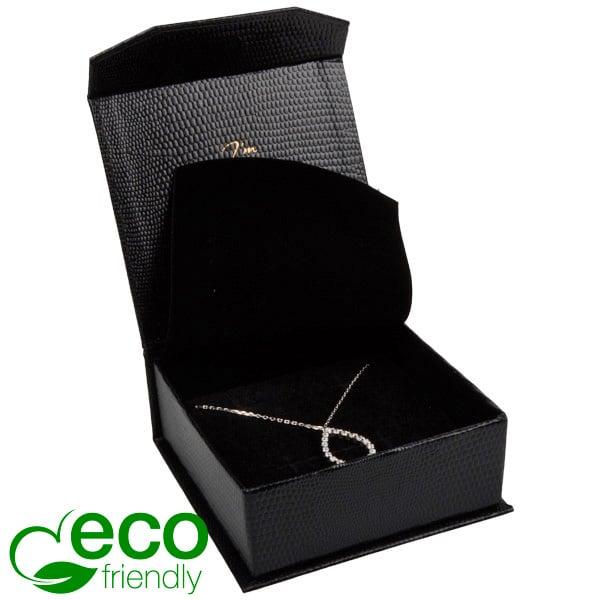 Nice ECO sieradendoosje voor armring/ hanger Zwart kunstleer met slangenprint/ Zwart foam 85 x 81 x 32