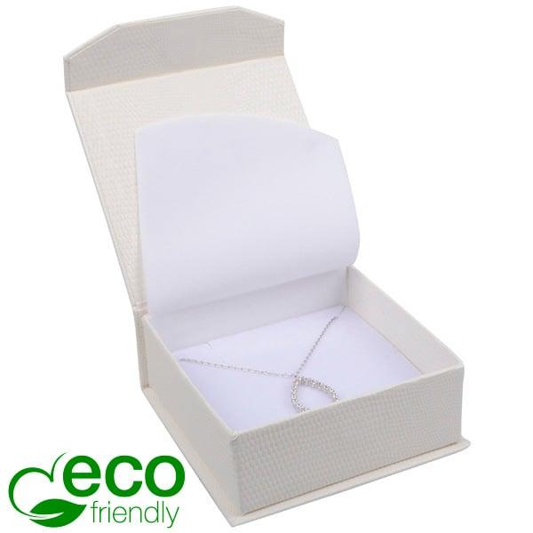 Nice Eco - écrin pour bracelet/grand pendentif Blanc avec texture peau de serpent/ Mousse blanche 85 x 81 x 32