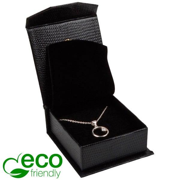 Nice ECO sieradendoosje voor oorbellen/ hanger Zwart kunstleer met slangenprint/ Zwart foam 65 x 70 x 27