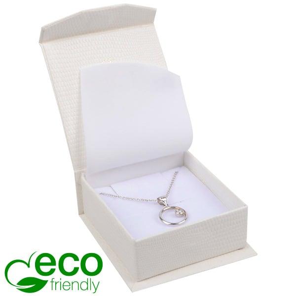 Nice ECO sieradendoosje voor oorbellen/ hanger Crèmekleurig kunstleer met slangenprint / Wit foam 65 x 70 x 27