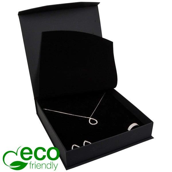 Milano ECO écrin pour collier / parure Similicuir noir/ Mousse noire 165 x 165 x 35
