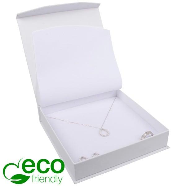 Milano ECO écrin pour collier / parure Carton Doux au Toucher Blanc / Mousse Blanche 165 x 165 x 35