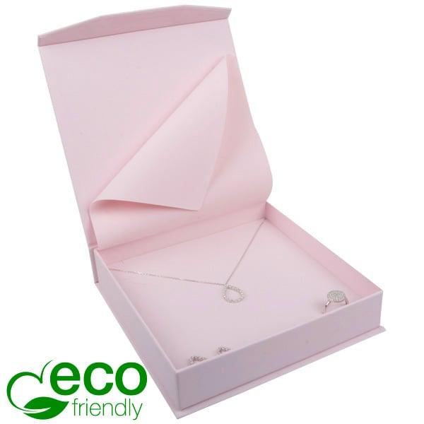 Milano ECO sieradendoosje voor collier/ choker Roze Soft-Touch Karton / Roze foam 165 x 165 x 35