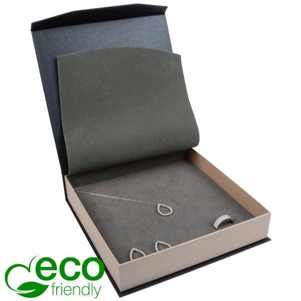 Milano ECO sieradendoosje voor collier/ choker Pearl antraciet-zilver karton/ Antraciet interieur 165 x 165 x 35