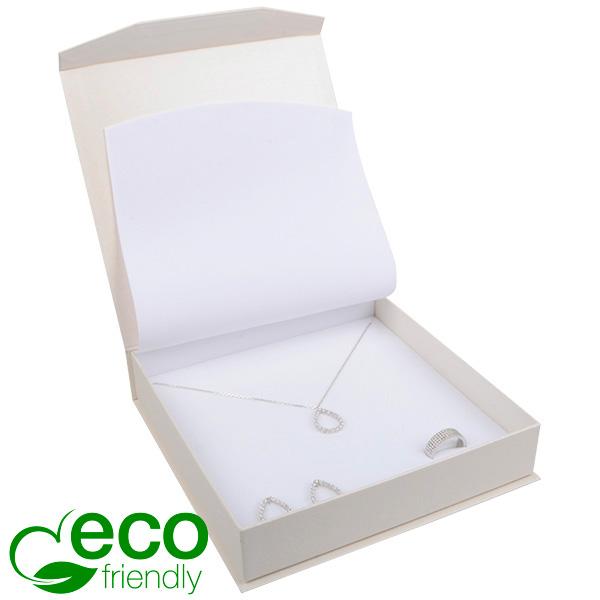 Milano ECO sieradendoosje voor collier/ choker Pearl ivoorwit karton/ Wit interieur 165 x 165 x 35