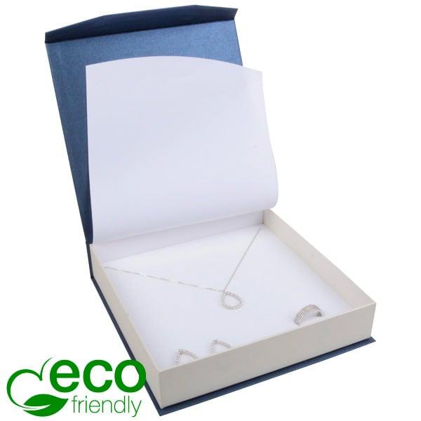 Milano ECO sieradendoosje voor collier/ choker Pearl blauw-ivoorwit karton/ Wit interieur 165 x 165 x 35