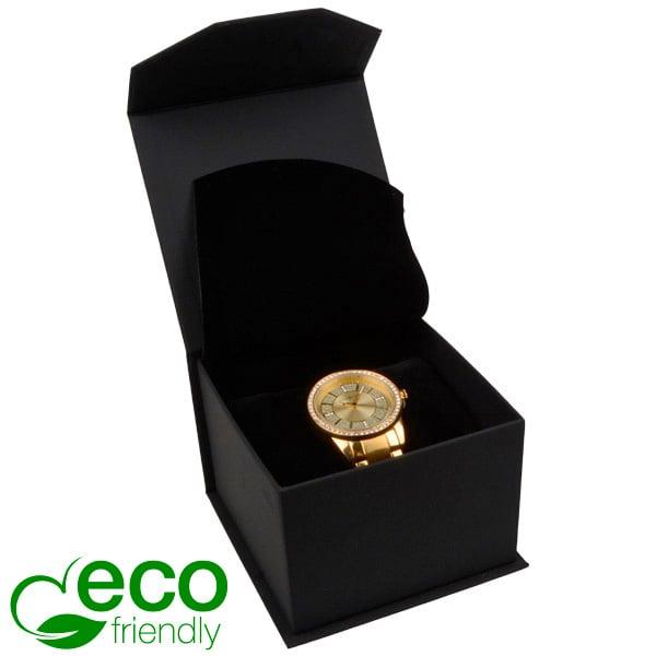 Milano ECO écrin pour montre/ bracelet rigide Similicuir noir/ Mousse noire 100 x 100 x 70
