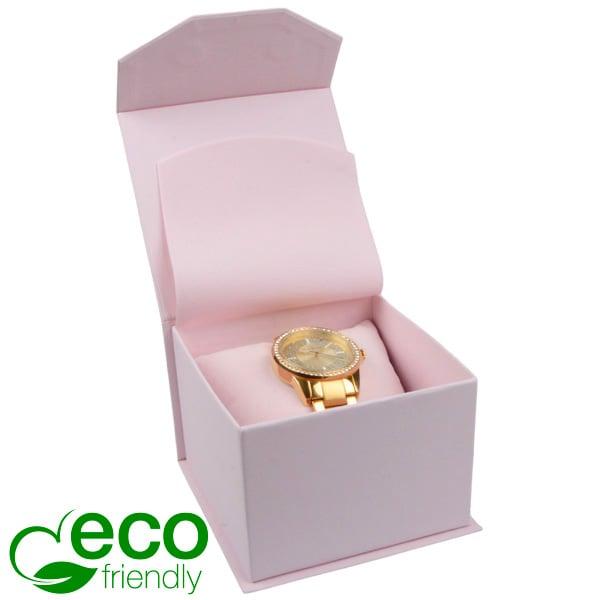 Milano ECO écrin pour montre/ bracelet rigide Carton Doux au Toucher Rose / Mousse Rose 100 x 100 x 70