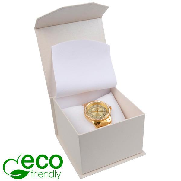 Milano ECO sieradendoosje voor horloge Pearl ivoorwit karton/ Wit interieur 100 x 100 x 70