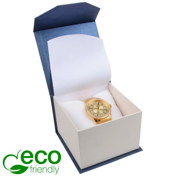 Milano ECO sieradendoosje voor horloge Pearl blauw-ivoorwit karton/ Wit interieur 100 x 100 x 70
