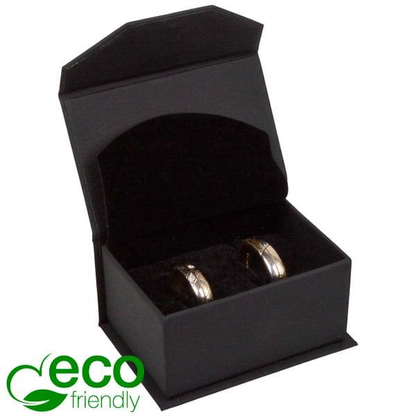 Milano ECO sieradendoosje trouwringen / manchetkn. Mat zwart kunstleer / Zwart interieur 67 x 46 x 35