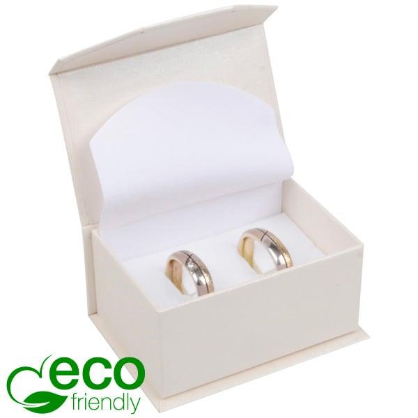 Milano ECO écrin alliances / boutons de manchette Carton blanc ivoire perlé/ Mousse blanche 67 x 46 x 35