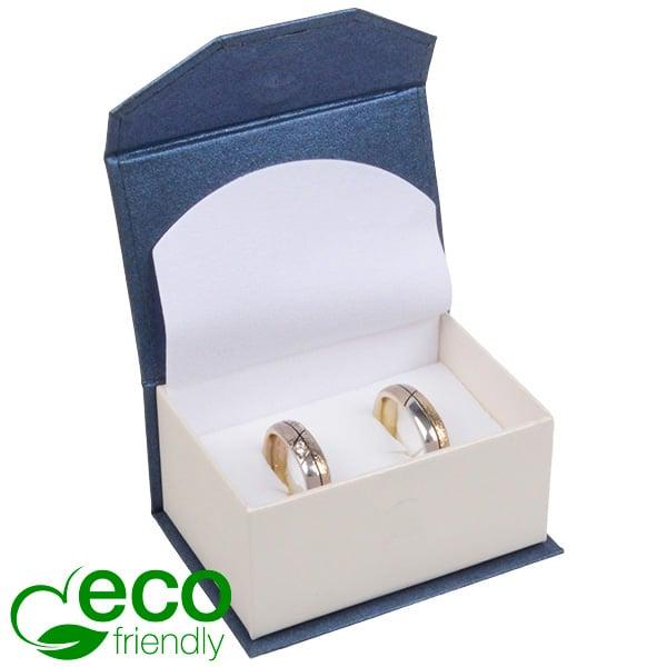 Milano ECO sieradendoosje trouwringen / manchetkn. Pearl blauw-ivoorwit karton/ Wit foam 67 x 46 x 35