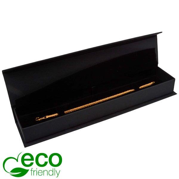 Milano ECO écrin pour bracelet, long Similicuir noir/ Mousse noire 227 x 50 x 26