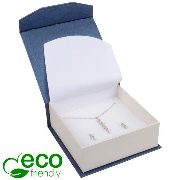 Milano ECO sieradendoosje armring / hanger Pearl blauw-ivoorwit karton/ Wit foam 85 x 81 x 32