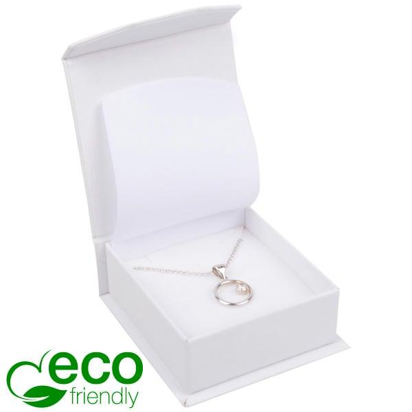 Milano ECO écrin pour BO pendantes/petit pendentif Carton Doux au Toucher Blanc / Mousse Blanche 65 x 70 x 27