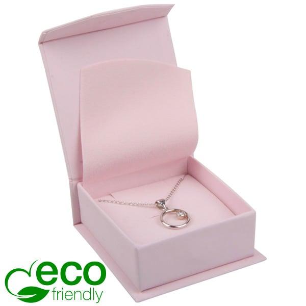 Milano ECO écrin pour BO pendantes/petit pendentif Carton Doux au Toucher Rose / Mousse Rose 65 x 70 x 27