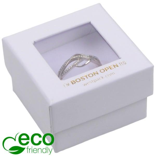 Boston Open ECO sieradendoosje voor ring Wit FSC®-gecertificeerd / rPET Venster/Wit Foam 50 x 50 x 32
