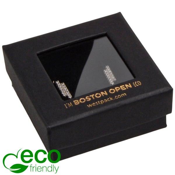 Boston Open ECO sieradendoosje oorbellen/Studs Zwart FSC®-gecertificeerd/rPET Venster/Zwart Foam 50 x 50 x 20