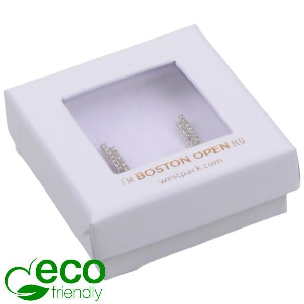 Boston Open ECO sieradendoosje oorbellen/Studs Wit FSC®-gecertificeerd / rPET Venster/Wit Foam 50 x 50 x 20