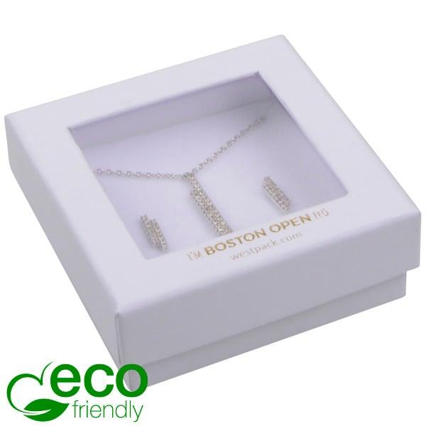 Boston Open ECO sieradendoosje oorbellen/ hanger Wit FSC®-gecertificeerd / rPET Venster/Wit Foam 65 x 65 x 25