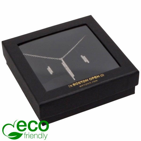 Boston Open ECO sieradendoosje armring/ hanger Zwart FSC®-gecertificeerd/rPET Venster/Zwart Foam 86 x 86 x 26