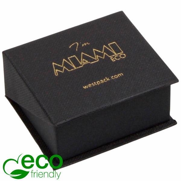 Miami ECO sieradendoosje voor oorbellen / knopjes Mat zwart FSC®-gecertificeerd karton/ Zwart foam 47 x 51 x 27