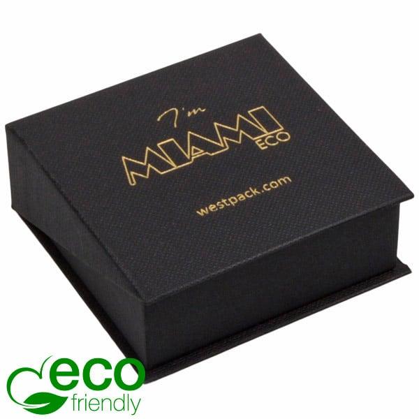 Miami ECO écrin pour BO pendantes/petit pendentif Carton noir, texture de bougran/ Mousse noir 66 x 66 x 27