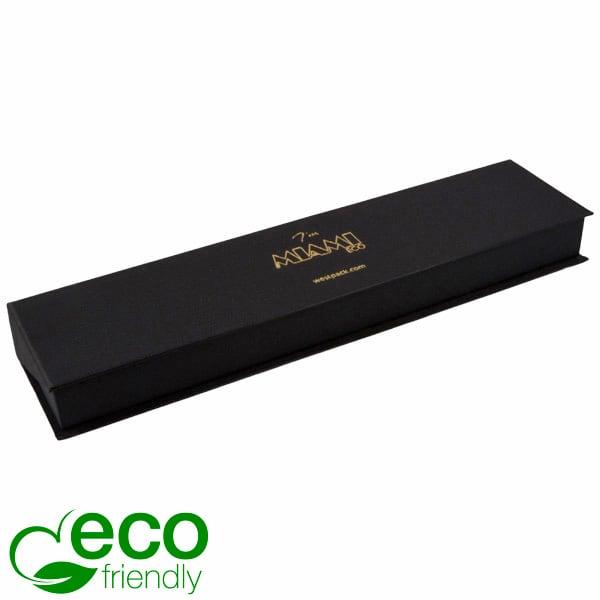 Miami ECO sieradendoosje voor armband Mat zwart FSC®-gecertificeerd karton/ Zwart foam 238 x 58 x 27