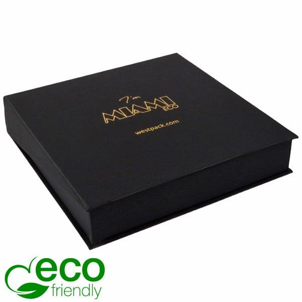 Miami ECO sieradendoosje voor collier / choker Mat zwart FSC®-gecertificeerd karton/ Zwart foam 168 x 168 x 37