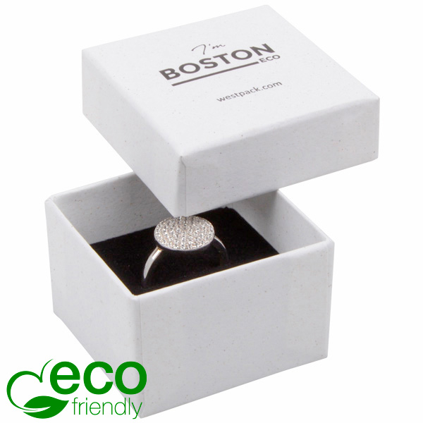 Boston ECO sieradendoosje voor ring Natuur Wit FSC®-gecertificeerd / Wit-zwart foam 50 x 50 x 32