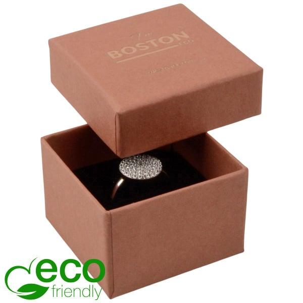 Boston ECO sieradendoosje voor ring Terracotta FSC®-gecertificeerd karton/Zwart foam 50 x 50 x 32