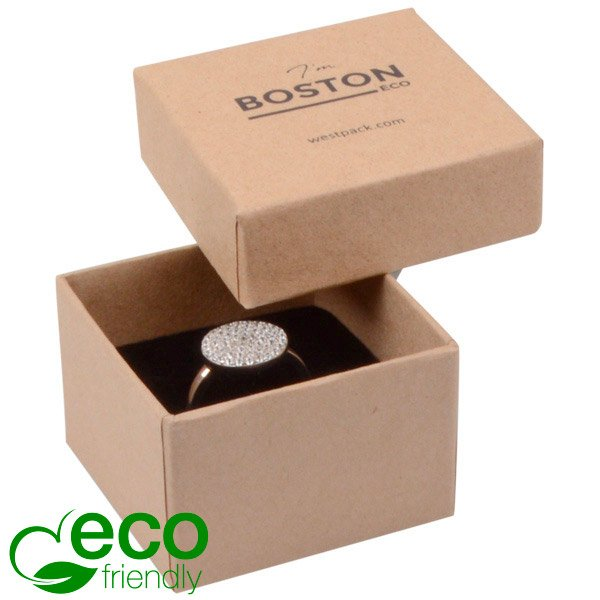 Boston ECO sieradendoosje voor ring Mat naturel karton / Zwart foam 50 x 50 x 32