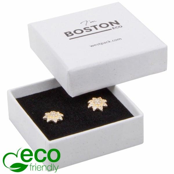 Boston ECO sieradendoosje oorbellen/ oorknopjes Natuur Wit karton / Wit-zwart foam 50 x 50 x 22