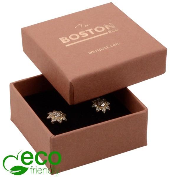 Boston ECO sieradendoosje oorbellen/ oorknopjes Terracotta FSC®-gecertificeerd karton/Zwart foam 50 x 50 x 22