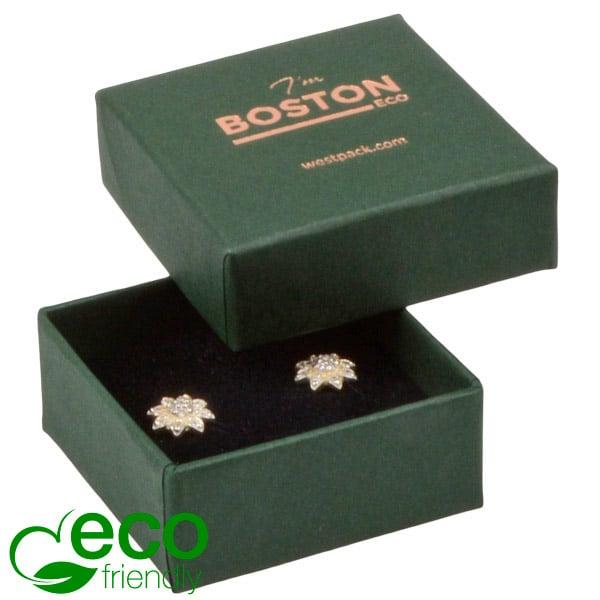 Boston ECO sieradendoosje oorbellen/ oorknopjes Donkergroen karton / Zwart foam 50 x 50 x 22