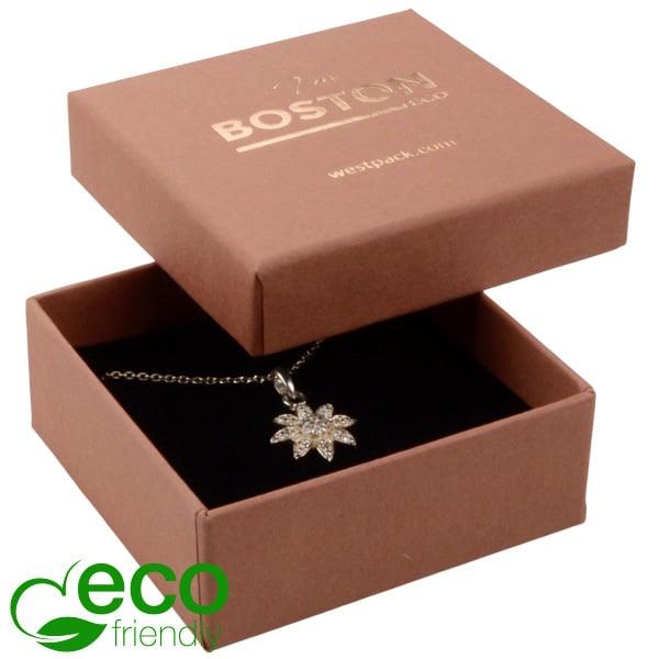 Boston ECO sieradendoosje voor oorbellen / hanger Terracotta FSC®-gecertificeerd karton/Zwart foam 65 x 65 x 25